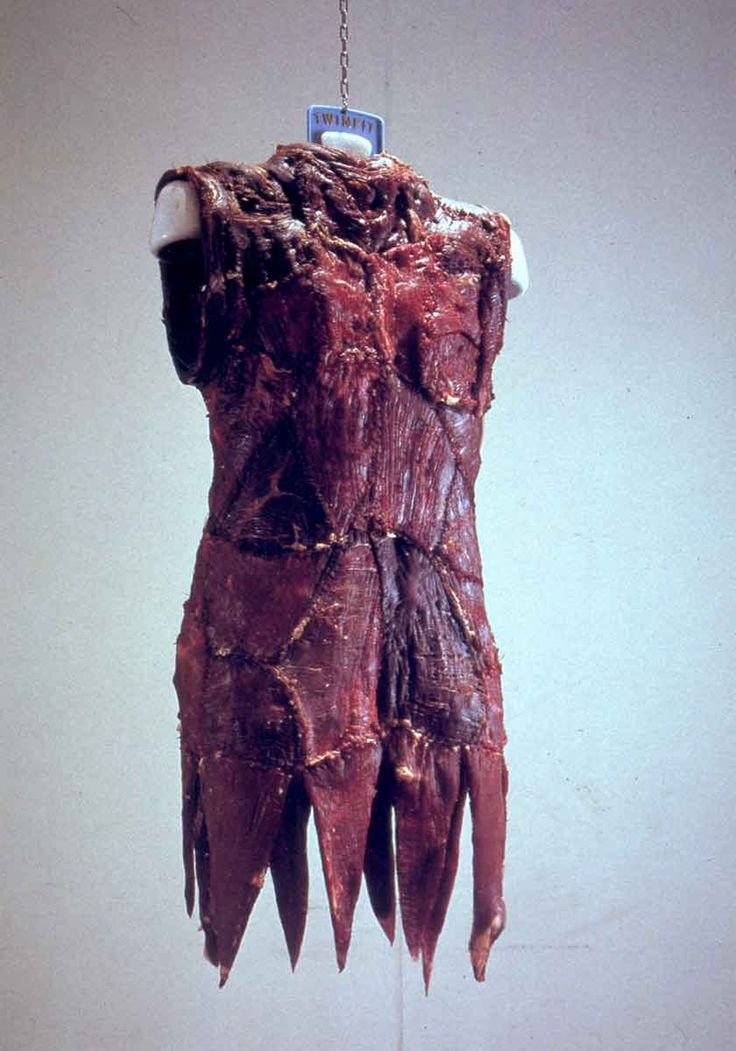 the original meat dress by Jana Sterbak - Feminist piece related to women being seen and treated as 'meat' - possessions - livestock 'A nice piece of meat'