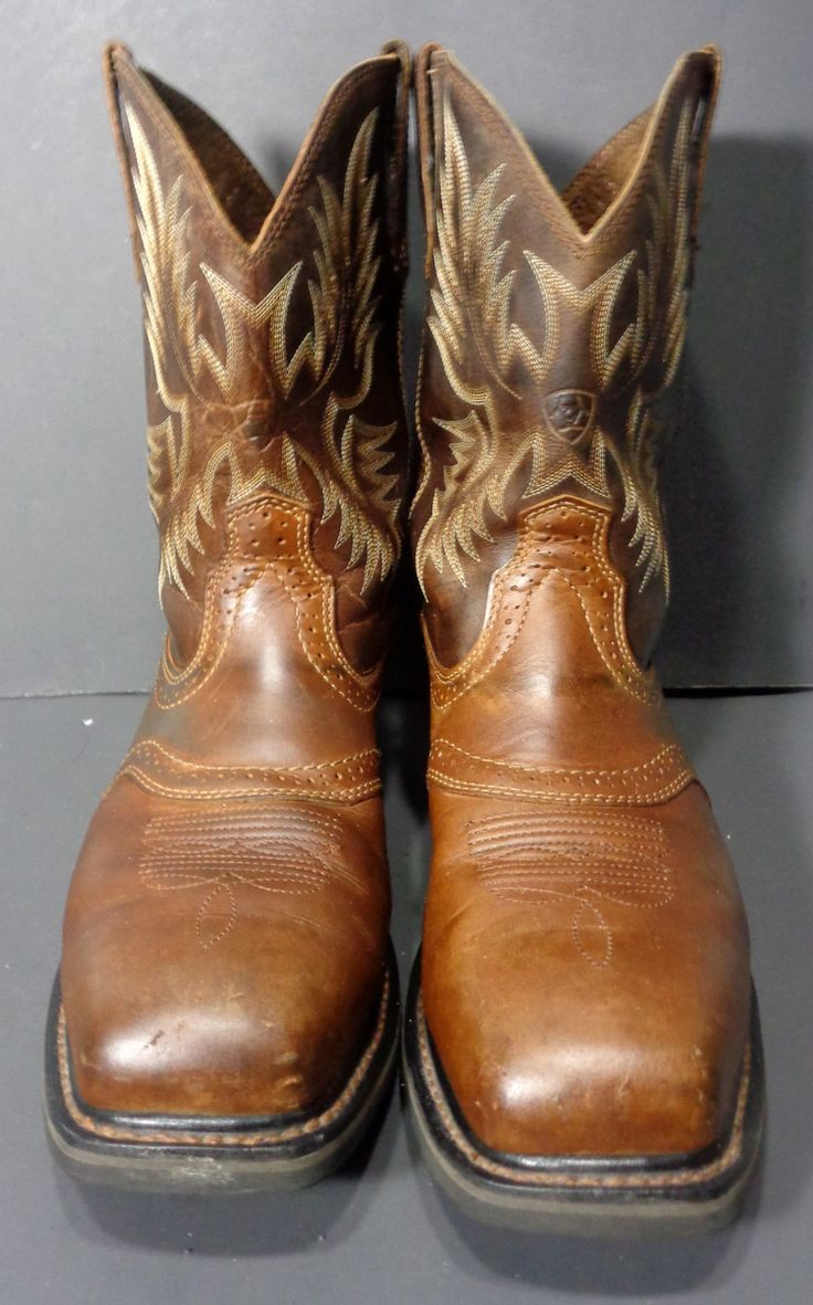 ARIAT 10010134 SIERRA BROWN LEATHER STEEL TOE COWBOY BOOTS MEN'S 13 EE Price: $99.99 #cowboy #fashion At Eagle Ages we love cowboy boots.  You can find a great choice of second hands & vintage cowboy boots in our store. https://eagleages.com/shoes/boots/men-boots/cowboy-boots.html