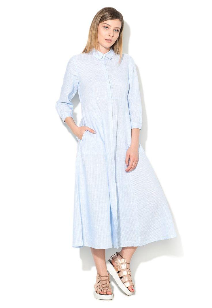 Rochie tip camasa lunga bleu cu alb in dungi Marilu Pennyblack (22211217-122-002)