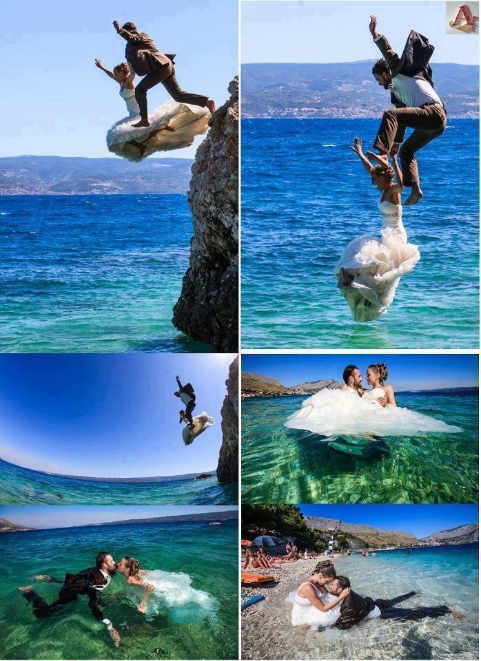 couple, dive, cliff, sea, bride, sea water