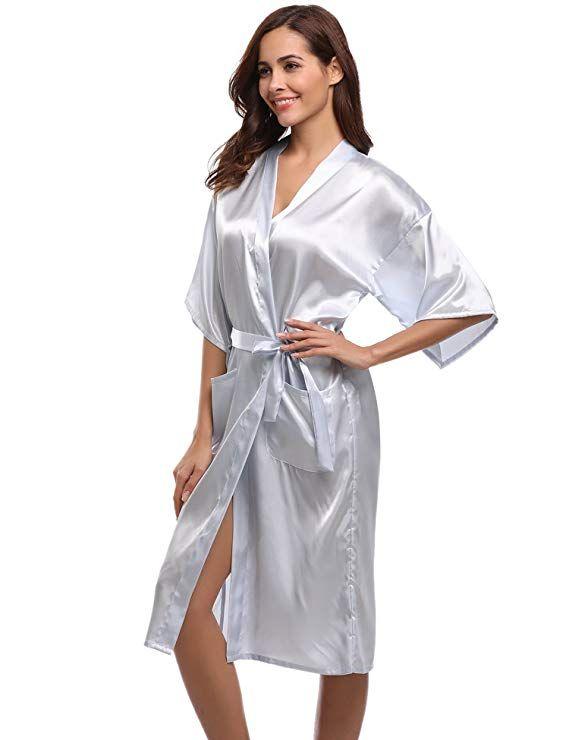 8a24f2577d Aibrou Women's Kimono Robe Long Dressing Gowns Classic Satin Wedding Bathrobes  Nightwear: Amazon.co