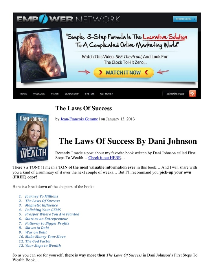 the-laws-of-success-by-dani-johnson by Jean-Francois Gemme via Slideshare