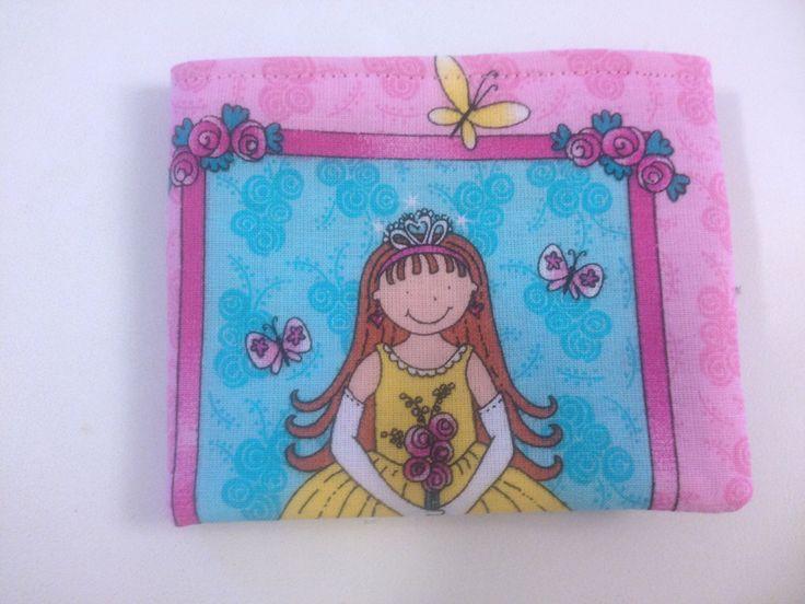 Pink Girls Bi Fold Wallet with Velcro Princess by BethsCakeKitShop on Etsy