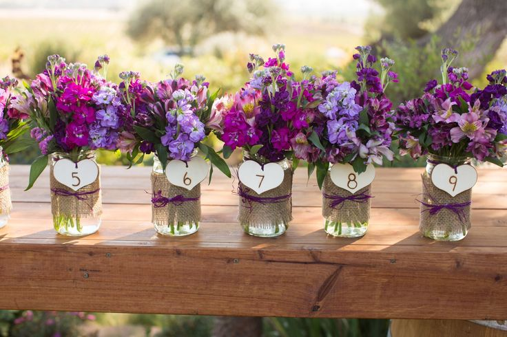 Mason jar centerpieces wedding ideas purple for Mason jar wedding centerpiece ideas