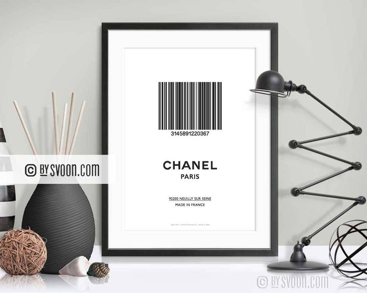 Barcode Chanel Paris Print, Minimal Wall Decor, Typography Print, Barcode, Design Print, Black & White, High Quality Print, Gift for Her/Him by bySvoon on Etsy