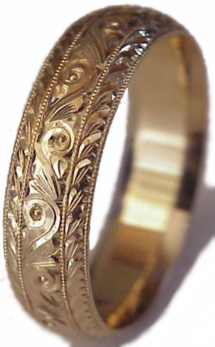 New Hand Engraved Woman 14k Yellow Gold 6mm Wide Wedding Band Ring Comfort Fit | eBay