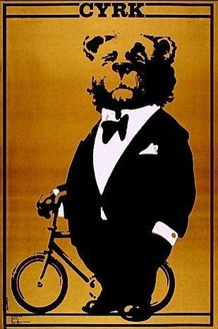 Bear In Tuxedo Poster: Original 1978 edition Polish Cyrk poster designed by Waldemar Swierzy