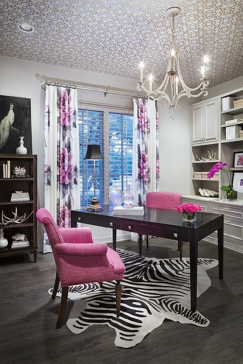Guest Room - Pink and grey office features a trellis wallpapered ceiling accented with an Oslo Chandelier ...