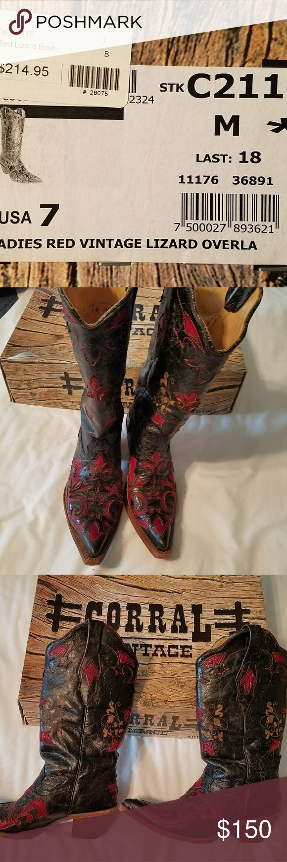 Corral Vintage boots Black leather with red lizard inlay. Gorgeous boots! Corral Shoes Heeled Boots