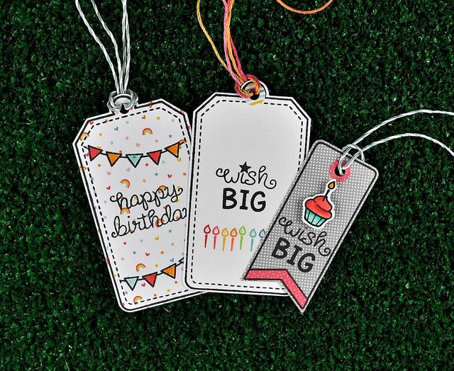 Lawn Fawn - Birthday Tags, Tag- You're It Lawn Cuts, Hello Sunshine 6x6 paper, Lawn Trimmings cord in Sky and Pink Lemonade _ birthday tag trio by Kelly for Lawn Fawn Design Team, via Flickr