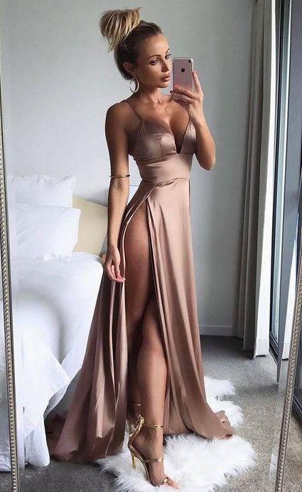 sexy spaghetti straps long prom dresses, split side prom dresses long, high quality dresses
