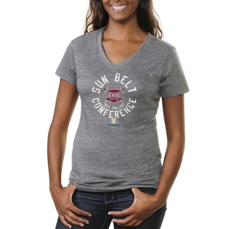 Sun Belt Gear Women's Conference Stamp Tri-Blend V-Neck T-Shirt - Ash  -