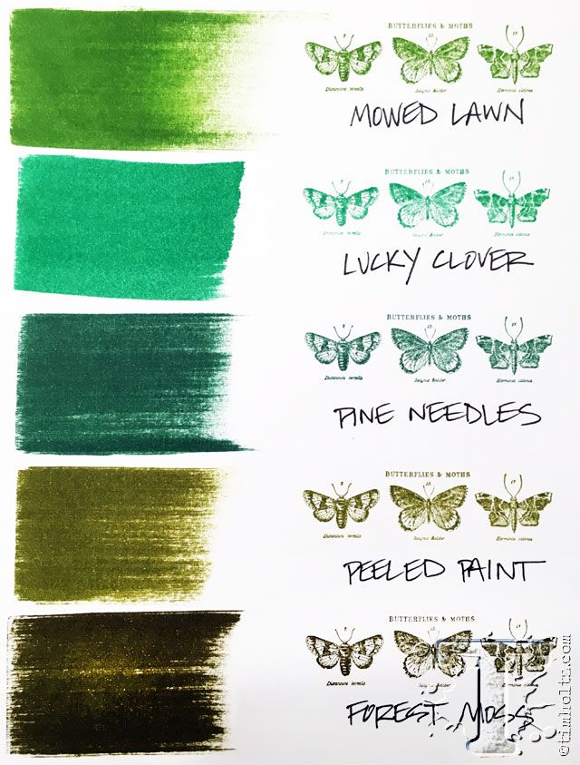 Here's how the new Tim Holtz November distress color, Lucky Clover, fits into the green distress color palette.