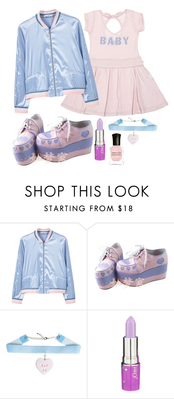 """""""cry baby, bomber jacket"""" by beingmyselfaf on Polyvore featuring MANGO, Lime Crime and Deborah Lippmann"""