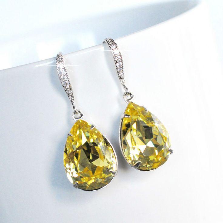 Handmade Light Yellow Swarovski Jonquil Pear Crystal Dangle (Sparkle-2502-U)