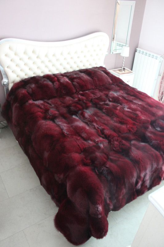 Dyed Red Fox Fur Blanket