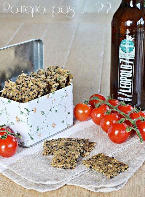 http://pourquoi-pas-isa.blogspot.fr/2015/07/crackers-au-sesame-noir-thym-et-fleur.html Crackers au sésame noir, thym et fleur de sel :   100gr de farine de seigle - 20gr de flocons d'avoine - 1 càc de fleur de sel - 1 pincée de bicarbonate - 60gr de graines de sésame noire - 40gr de graines de tournesol - 2 càc de thym frais effeuillé - 60gr d'eau - 40gr d'huile d'olive