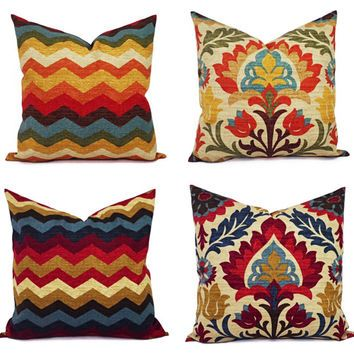 Decorative Pillow Cover - Decorative Pillow Cover Blue and Orange - Blue and Beige Pillow - Designer Pillow - Accent Pillow Cover