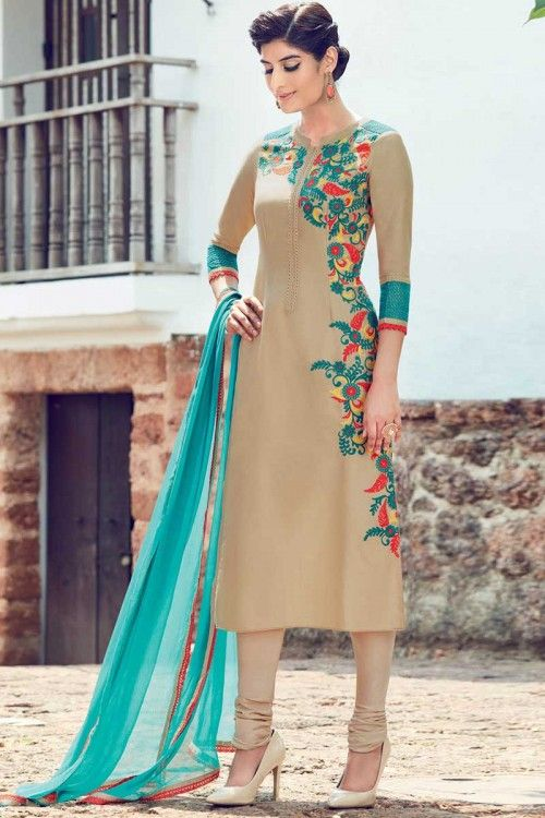 Online wedding, Churidar cotton asian prom long suits, Beige  embroidered costume now in shop. Andaaz Fashion brings latest designer ethnic wear collection in UK   http://www.andaazfashion.co.uk/salwar-kameez/churidar-suits/beige-cotton-and-satin-churidar-suit-with-dupatta-dmv14164.html