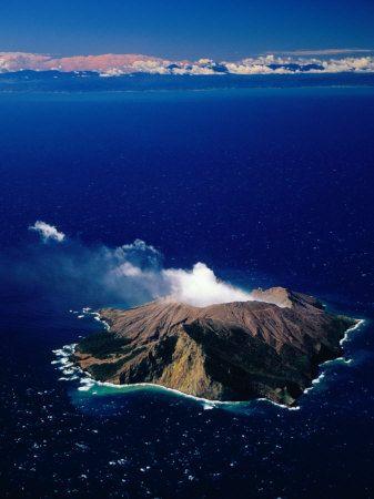 Aerial View of White or Whakaari Island in Bay of Plenty New Zealand