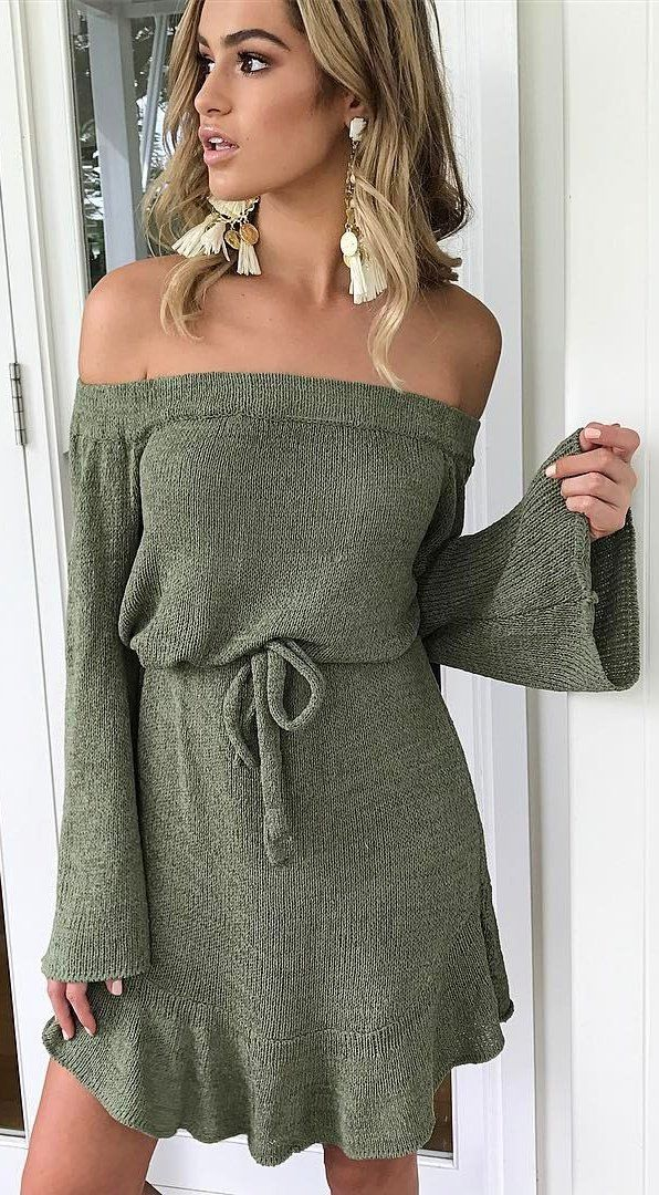 #summer #outfits  Khaki Off The Shoulder Knit Dress