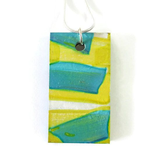 Yellow Green Blue, Hand Painted Wood Pendant, Original Abstract Rectangle Picture Pendant, Wearable Fine Art Jewelry, Modern Painting, OOAK