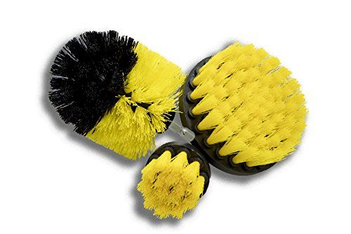 Original Drill Brush 360 Attachments 3 pack kit Medium- Yellow All purpose Cleaner Scrubbing Brushes for Bathroom surface, Grout, Tub, Shower, Kitchen, Auto,Boat,RV - *PROFESSIONAL CLEANING: This professional 3 pcs kit can be used on his or her projects indoor and outdoor.Drill brushes are perfect for scrubbing bathroom surfaces,tubs,showers,sinks,tile,grout also used for auto carpet,boat and RV interiors. *SET OF 3 BRUSHES: Drill brush 360 kit includes: 3 dif...