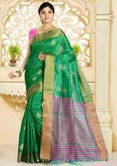 Green Color Art Silk Designer Festive Sarees : Vinang Collection YF-64045