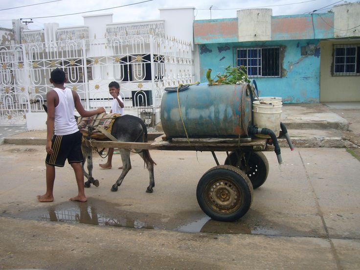 Repartiendo agua en burrito en Maicao, La Guajira, Colombia