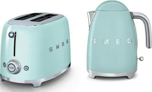 Smeg Kettle And Toaster Set Duck Egg Blue Green 1950s