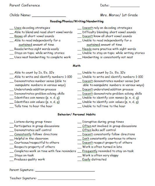 85 best Classroom - Parent Communication images on Pinterest - parent teacher conference form