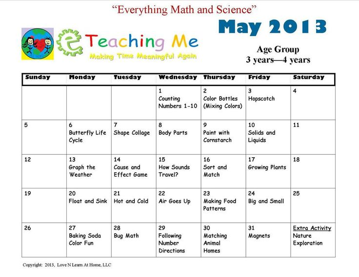Calendar Lesson Ideas : Learning activities for toddlers at daycare list of