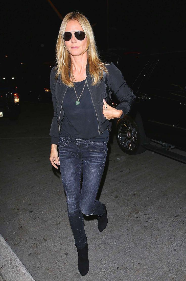 Heidi Klum At Lax Wearing R13 Moto Jeans In Black