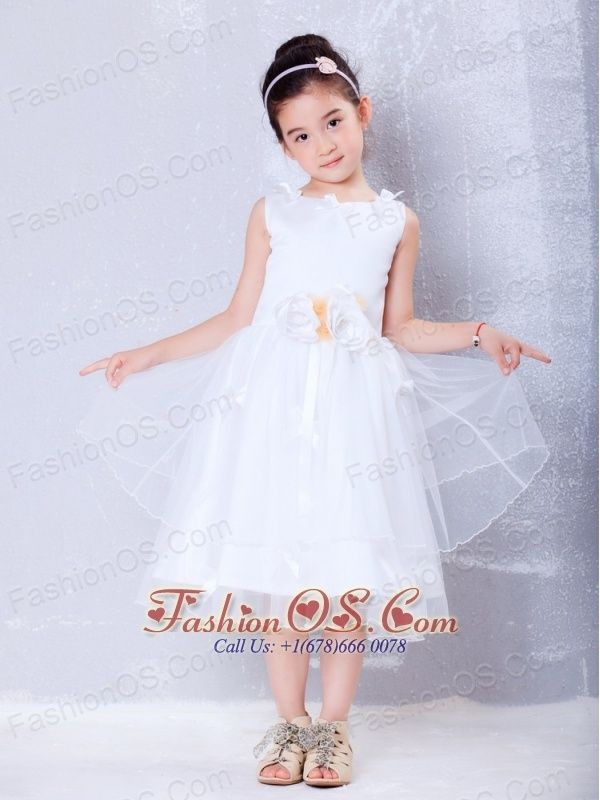 Pretty White A-line Scoop Hand Made Flowers Flower Girl DressTea-length Organza  http://www.fashionos.com/  http://www.facebook.com/quinceaneradress.fashionos.us  Sleeveless design makes the dress look brief but not simple. Scoop neckline will foil your little lovely and slim face. The most grateful design is the flower sash, which makes the dress excellent and shows the flower girl's figure perfectly. The outside clear makes the dress more lightsome.