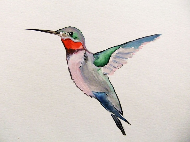 Original Watercolor Painting-Hummingbird