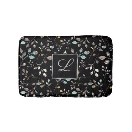 Elegant Floral Monogram Pattern Bath Mat - monogram gifts unique design style monogrammed diy cyo customize