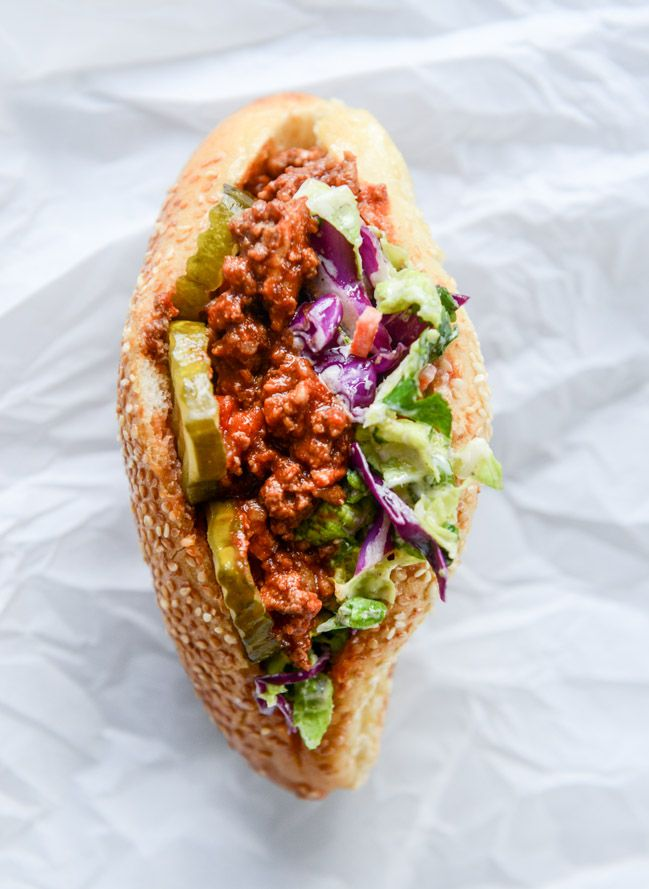 smoky sloppy joes with green chiles and greek yogurt slaw I howsweeteats.com