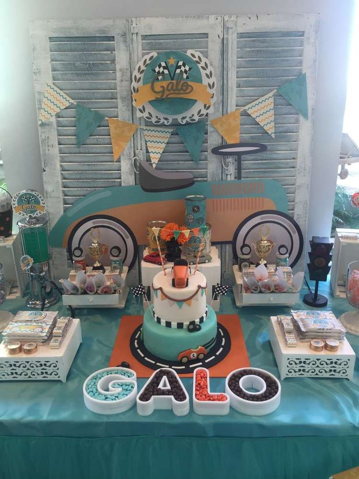Loving this cute vintage car themed birthday party. A great theme for car crazy little boys! See more party ideas at CatchMyParty.com