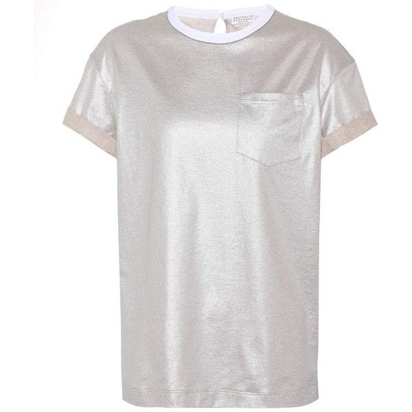 Brunello Cucinelli Metallic Cotton T-Shirt ($690) ❤ liked on Polyvore featuring tops, t-shirts, gold, cotton t shirts, brunello cucinelli, brunello cucinelli t shirt, metallic top and white t shirt