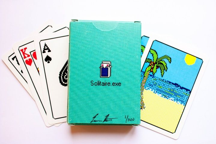 Solitaire.exe, playing cards that look like the Windows 3.0 Solitaire game. Limited edition by Bicycle Playing Cards, designed by artist Evan Roth. Sadly, they are sold out. :(