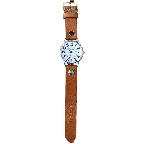 Rhythm Leather English Autumn Leather Watch ($42) ❤ liked on Polyvore featuring jewelry, watches, white jewelry, leather band watches, white wrist watch, leather jewelry and leather watches