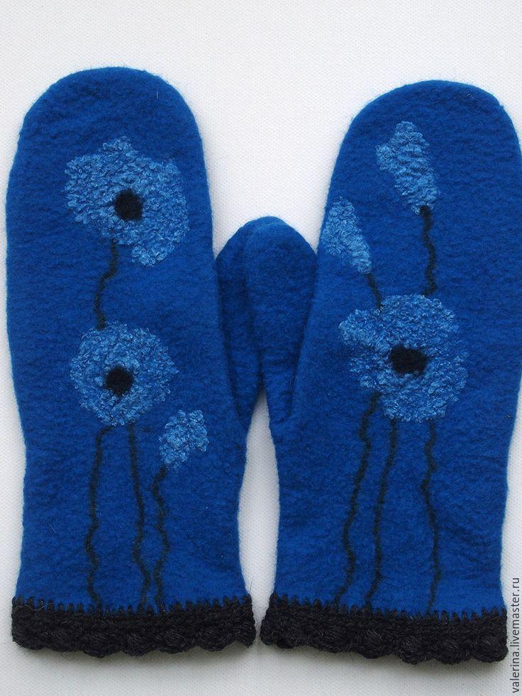"""Купить Варежки валяные """"BLUE"""" - тёмно-синий, рисунок, варежки ручной работы, варежки валяные"""