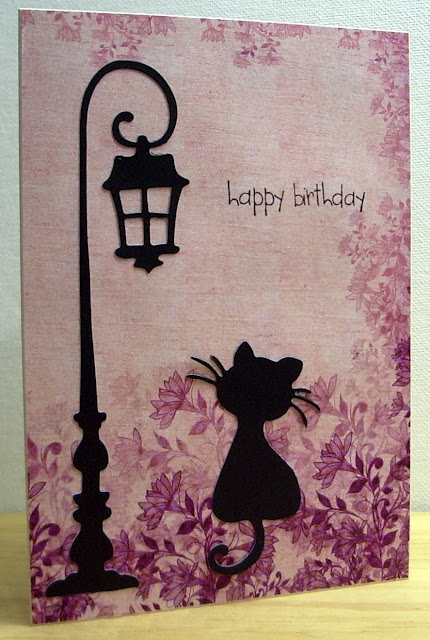 Lamp and black cat card. Magnolia Bon Voyage DooHickeys Dies-Paris Night