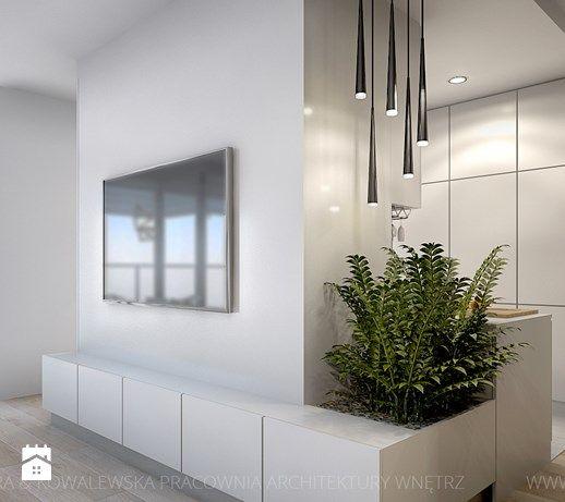 nowoczesny salon z płytami betonowymi na ścianie - Średni salon z jadalnią, styl minimalistyczny - zdjęcie od TK Architekci