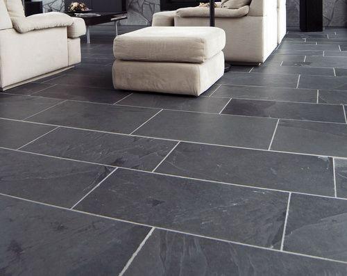 Brazilian Slate in charcoal tones creates a modern, ultra-sleek atmosphere against white/off-white furniture/decor