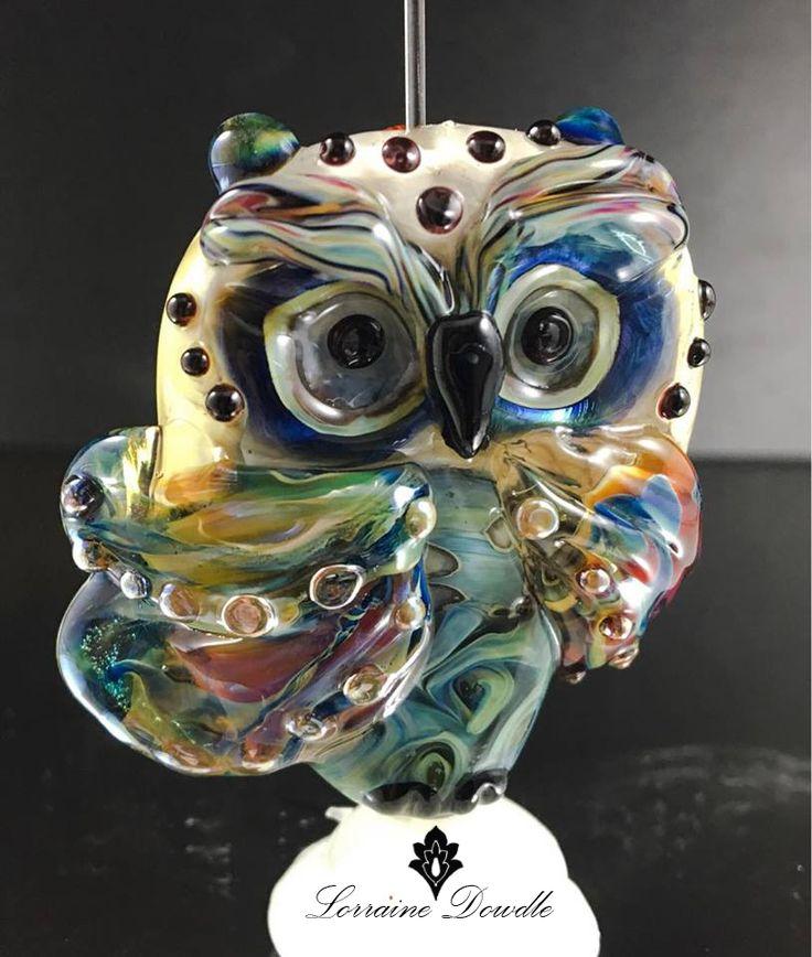 Large Focal Lampwork owl - Lorraine Dowdle