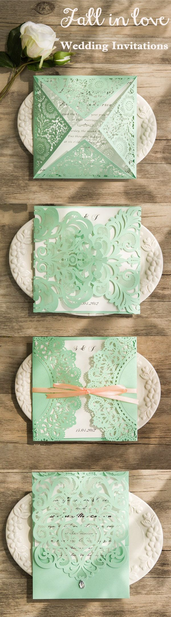 Mint green is a very in color for everything including wedding planning, which is fresh, lovely, brisk and can be a bonus to wedding color palette. Do you like these mint green laser cut wedding invitations?