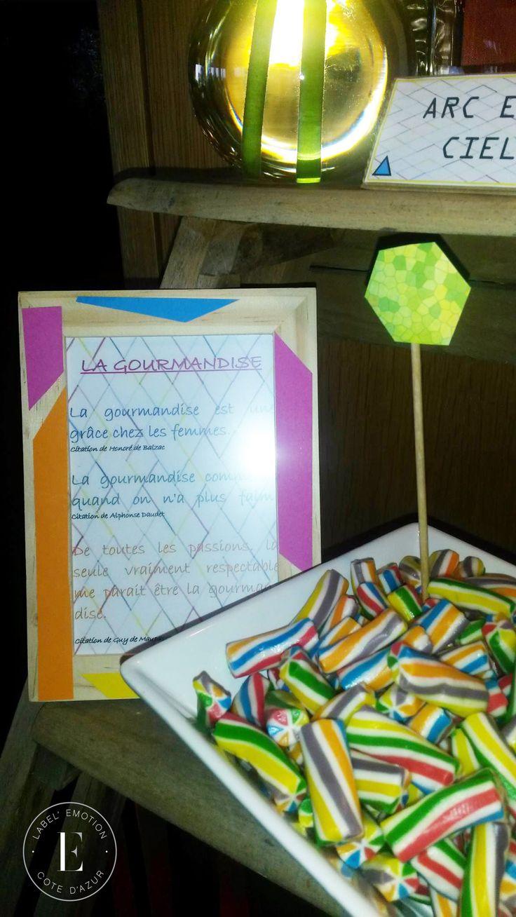 Candy Bar Géometric, colors yellow, orange, blue, green, pink  Candy avec formes géometriques, losange, carré, triangle.  Couleurs bleu, rose Fuschia, orange, vert d'eau et jaune.