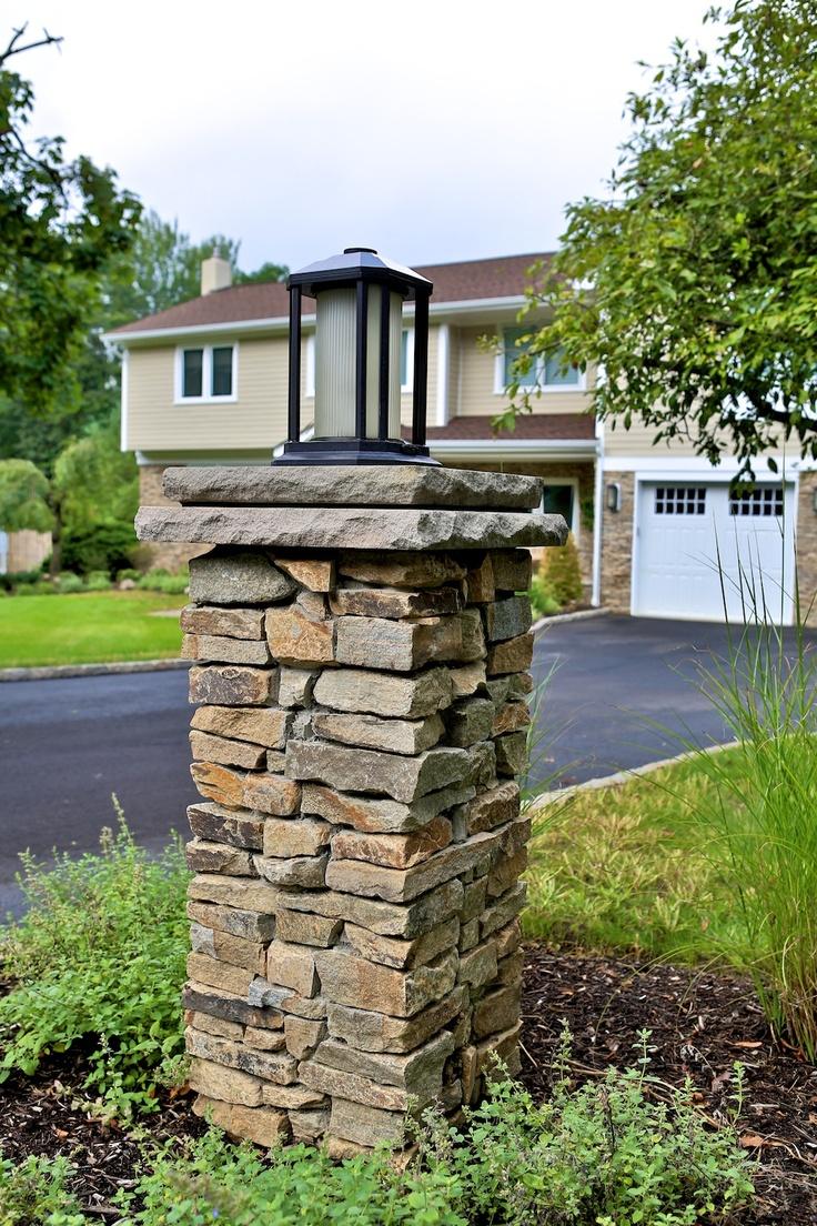 Stacked Stone Light Pillar Column Stone Driveway Diy