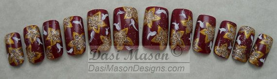 Moroccan Red and Gold Floral Instant Acrylic Nail Set by dasimason, $10.00